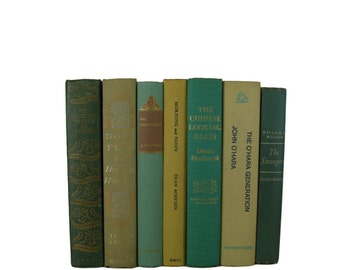 Tan  Green Vintage Decorative Books , Gray Green  Book Home Decor ,  Vintage books for Wedding Decor