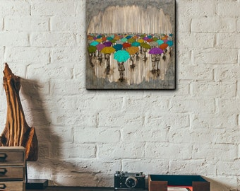 Rain Art Print, titled A Sea of Umbrellas, mounted to wood panel, Umbrella Art, Rain Art, by Kendra Baird Runnels