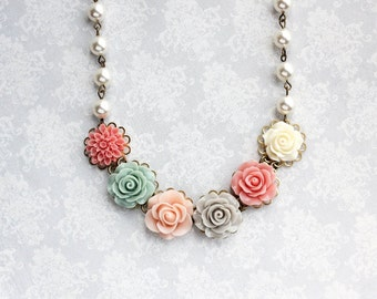Pale Pink Floral Necklace Colorful Wedding Coral Dahlia Light Grey Aqua Sage Green Rose Pearl Chain Flower Bib Unique Bridesmaids Gift