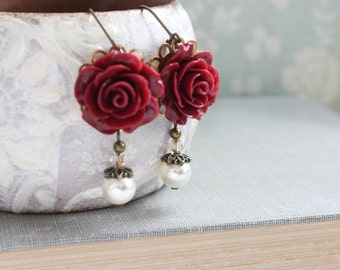 Deep Red Rose Earrings Marsala Bridesmaids Earrings Cream Pearl Drop Leverback Earrings Dark Maroon Winter Wedding Gothic Romantic Christmas