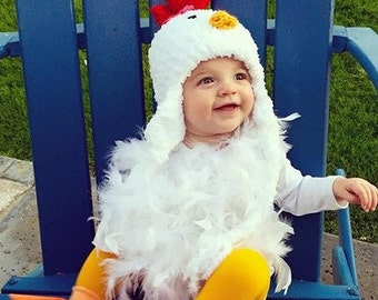 Baby Chicken Costume - Chicken Hat -  Baby Chicken Hat, Booties and Feathered Romper - Soft Chicken Baby Costume Hat - by JoJosBootique