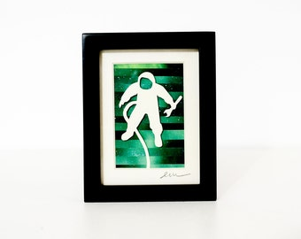 Astronaut in Space - A Miniature One of A Kind Collage