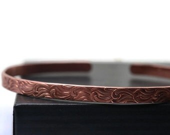 Women's Pure Copper Cuff, Feather Plume Scrollwork Patterned Cuff, Adjustable Bangle, Handmade Boho Jewelry