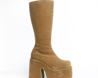 90's Faux Leather Tan Platform Wedge Gogo Knee boots // size 8