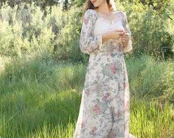 LARK Vintage 1970's Dream Dress Gunne Sax Black Label Floral Bird Print Prairie Maxi Boho Bridal Wedding Gown