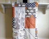 Rustic Crib Quilt - Bear Hike - Baby Quilt Boy, Woodland, Nursery Bedding, Handmade, Bear, Deer, Arrow, Navy, Grey, Rust Orange, Minky