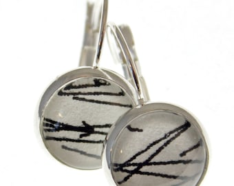 Needle in a Haystack. Round Chiyogami Earrings. Black and White