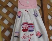 "Valentine Coffee Kitchen Tea Towel ""Love you MORE"" Valentine Hanging Dish Towel Valentine Coffee SnowNoseCrafts"