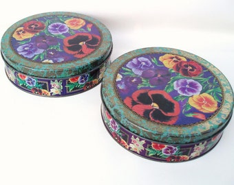Vintage Decorative Tins | Cookie Tins | Storage Canisters | Metal Tins | Pansy Boxes - Set of 2