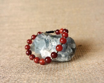 Red Fire Agate - Adjustable Beaded Bracelet
