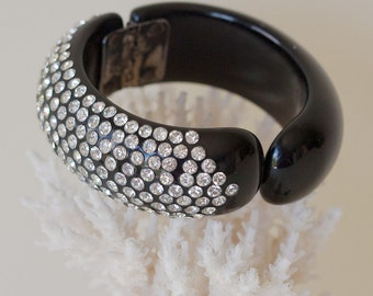 Unmarked WEISS Clamper Bracelet Black Rhinestone Clampover Vintage 1950's Glamour Bracelet with Crystals Sparkle Plenty Pretty