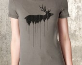 Elk Above Tree Line - Women's Screen Printed T-Shirt - American Apparel - Women's Small Through 2XL Available