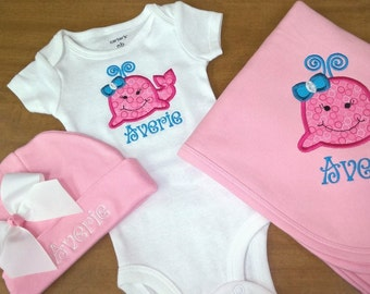 Personalized Onesie Cap Blanket Whale Layette Set Boy or Girl