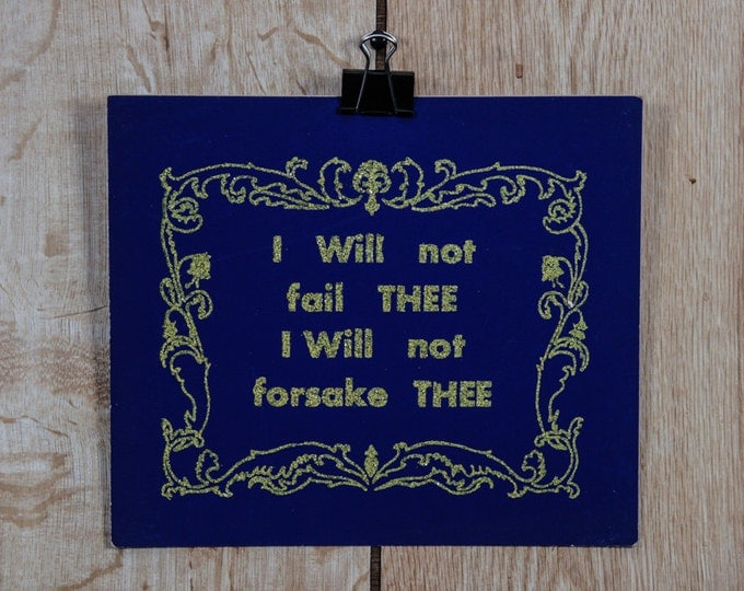 """Vintage Gold Glitter Sign """"I Will Not Fail Thee"""" Bible Scripture Religious Church Decor Blue Purple Poster Board 1940s '50s Christmas Art"""