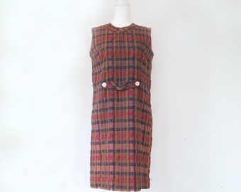 1960s Red Blue Plaid Shift Dress 60s Vintage Multicolor Madras Cotton Sundress Mod Preppy Day Dress Medium Large Sheath Dress