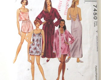 1990s Robe Nightgown Slip Camisole Knickers Pattern McCalls 7450 Womens Sleepwear Loungewear Lingerie Sewing Pattern Size XS-S-M or L-XL