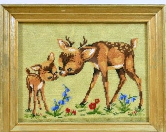 Vintage Baby Deer Framed Needlepoint Embroidery Stitchery Needlework Fawn Friends