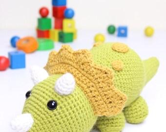 Crochet pattern - Tuki the Triceratops Dinosaur by Tremendu - amigurumi crochet toy, PDF digital pattern