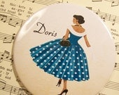 Personalized African American Woman Lipstick Mirror, 1950's Fashionista in Scoopneck Polka Dot Dress,Large 3.50 Inches
