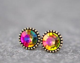 Rainbow Earrings Organic Edge Studs RARE Vintage Watermelon Rainbow Fuchsia Orange Ball Swarovski Crystal Rainbow Stud Earrings Mashugana