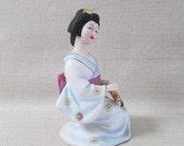 """SEIZAN CP Fine Art Porcelain Bisque 6"""" Sitting Japanese Geisha Figurine with Umbrella"""
