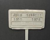 John Sibbett Aluminum Grave Marker Neller Funeral Home Cemetery Tombstone Plot