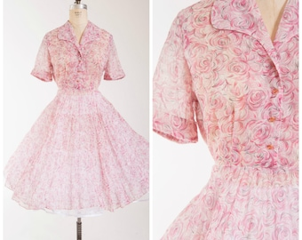 Vintage 50s Dress • Painted Blooms • Pink Floral Roses Nylon 1950s Sheer Day Dress Size Large