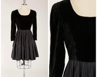 Vintage 1960s Dress • Touched by Magic • Black Velvet 60s Party Dress with Accordion Pleats Size Medium