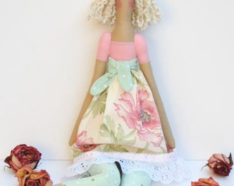 Tilda doll fabric doll handmade rag doll pink cloth doll stuffed doll cute blonde doll birthday gift - baby shower gift nursery decor doll