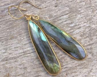 Girlfriend Gift, Labradorite Teardrop Earrings, Labradorite Gold Earrings, Long Dangle Drop Earrings, Romantic Jewelry, Boho Jewelry Wife