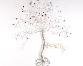 Family Tree Wall Hanging Sculpture Custom Wire Swarovski Crystal Birthstone Tree