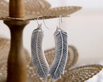 Porcelain Feather Earrings - Soft Blue - Modern Geometric - One of a Kind Handmade - READY TO SHIP
