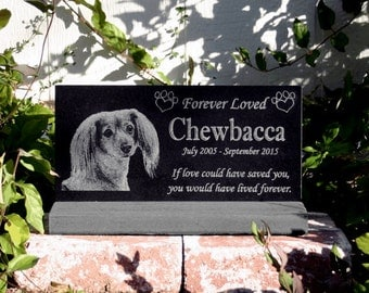 Pet Memorial Stone Plaque Granite Head Stone w/ Optional Base Heavy Composite Stand Dog/Cat Customized with YOUR Pets Photo Outdoor/Indoor