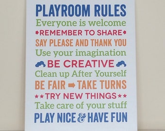 Playroom Rules, CANVAS, Nursery Decor, Kids Room, Childrens Room, custom colors