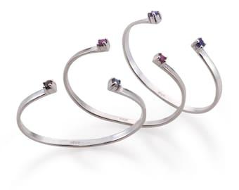 Sterling Silver Adjustable  Bangle - Gemstone Silver Cuff - Multistone Open Bracelet - 925 Silver Two Gemstones Bracelet - Everyday Bracelet