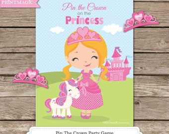Pin the Crown on the Princess Printable Party Game - 4 Princess Options - Princess Game - Princess Party Game - Princess Birthday Party Game