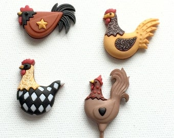 Chicken Magnets, Hen Magnets, Chicken Coop, Hen Thumb Tacks, Country Hens, Office Kitchen Decor
