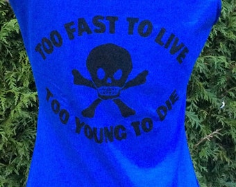 Punk Vest –Westwood -Too Fast To Live - Too Young to Die-Skull and Crossbones -Top blue XS 32 -distressed -sleeveless tank top