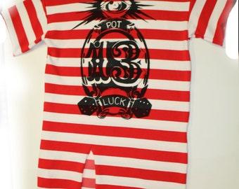 Red Stripe Pot Luck Punk Screenprint Striped tshirt dress - womens Dress tee- FREE SIZE- slouchy grunge fashion OOAK - large