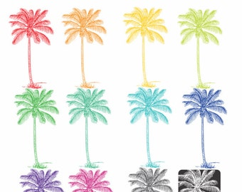 Palm tree clip art, in 12 shades including white, tropical palm trees or coconut tree clipart