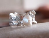 One of A Kind White Pearl Ring, Modern Jewelry, Handmade, Sterling Silver, Free Form, Ready to Ship