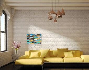 Rustic distressed wood shim wall art. Colorful modern art.