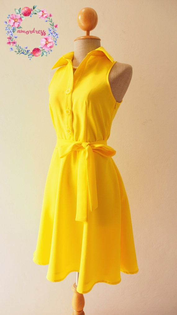 DOWNTOWN Canary Yellow Dress Lemon Club Dress Yellow Shirt