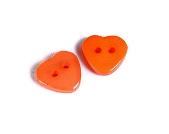 11mm Orange heart button - resin button - craft button - Heart shape buttons - 2 holes - 6 pieces (1606)