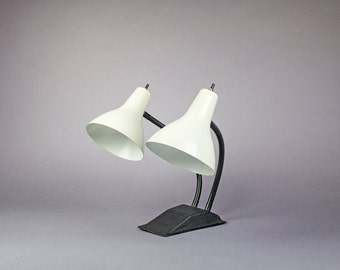Mid Century Lamp with Dual Gooseneck Heads / Mid Century Desk Lamp / White Lamp / Task Light / Mid Century Task Lamp
