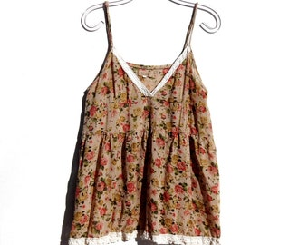 Sweet Vintage Floral & Lace Babydoll  BOHEMIAN Camisole Top