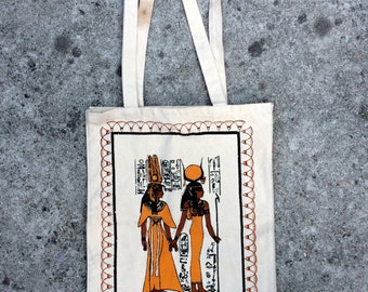 Hieroglyphic Handy Bag -- Large canvas tote decorated with an Egyptian graphic