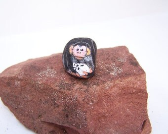 Monkey, chimp, skull, painted rock, fairy garden miniatures, fairy garden accessories, animals, dolls & miniatures, earthspalette