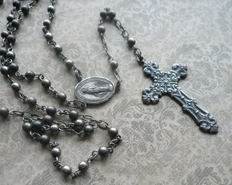 Vintage Antique Silver Rosary - Victorian, Renaissance Cross - Silver Beaded Rosary - Catholic Supplies