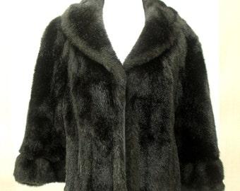 Vintage Mid-Century Faux Fur Cape Capelet Wrap Stole Black Fur Women's One Size Fits Most